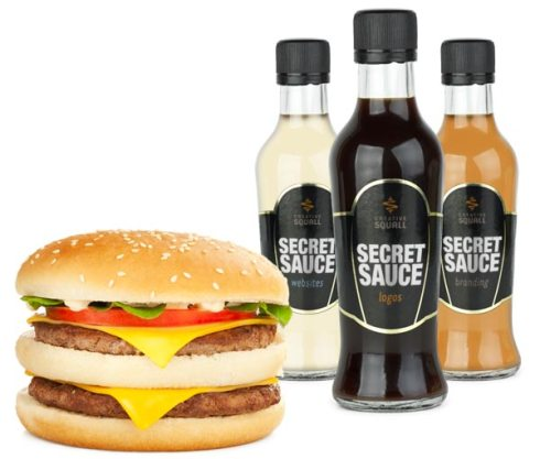 Secret sauce bottles for logo, branding and website design with a Big Mac
