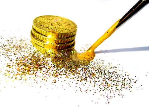 Painting gold coins
